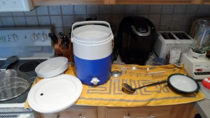 Various equipment to be cleaned/sterilized.