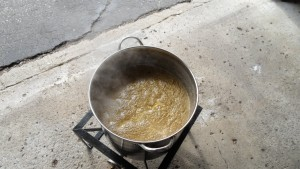 Wort boiling with hops added.