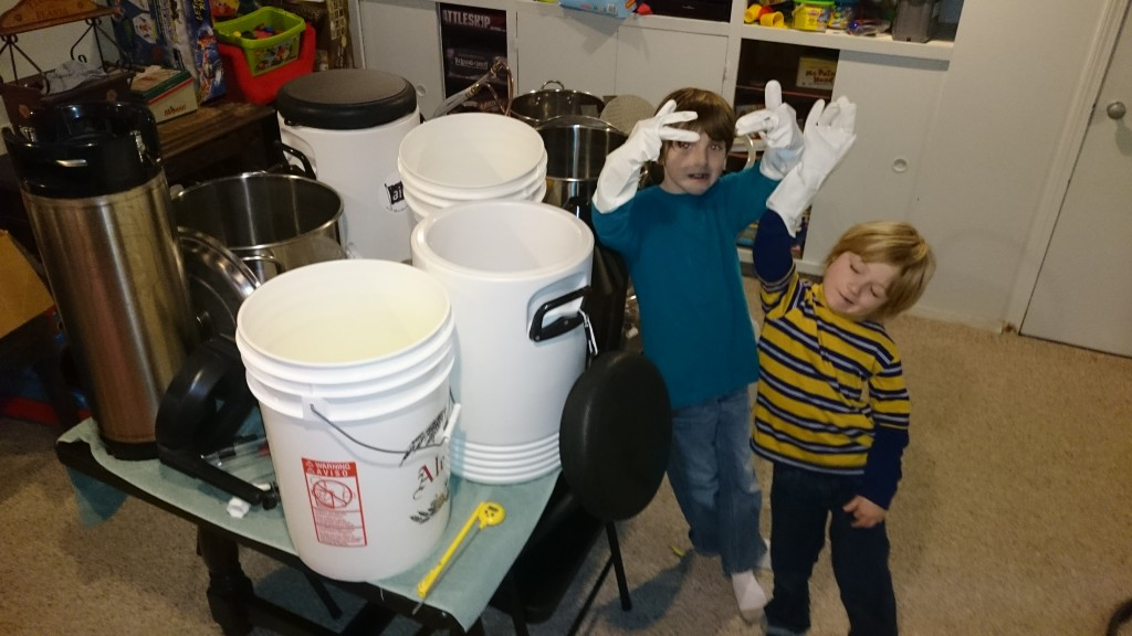 Boys Cleaning Brewing Equipment